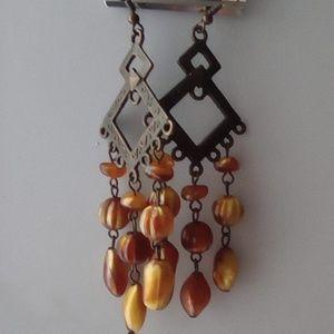 Long Boho Copper & Amber Earrings. Gypsy Style.